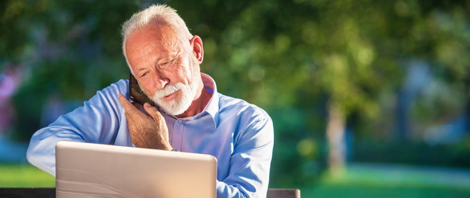 Older gentleman on mobile phone