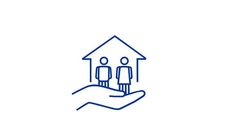 Paar Haus Hand