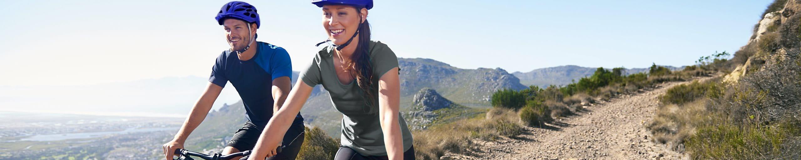 Mountain biking couple fun