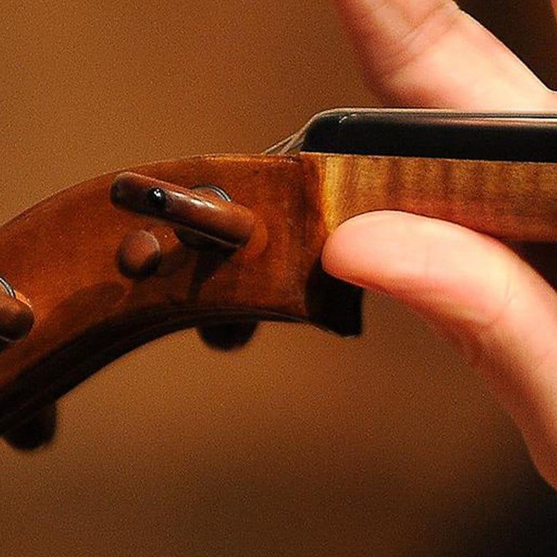Mano maschile che tiene il manico di un violino