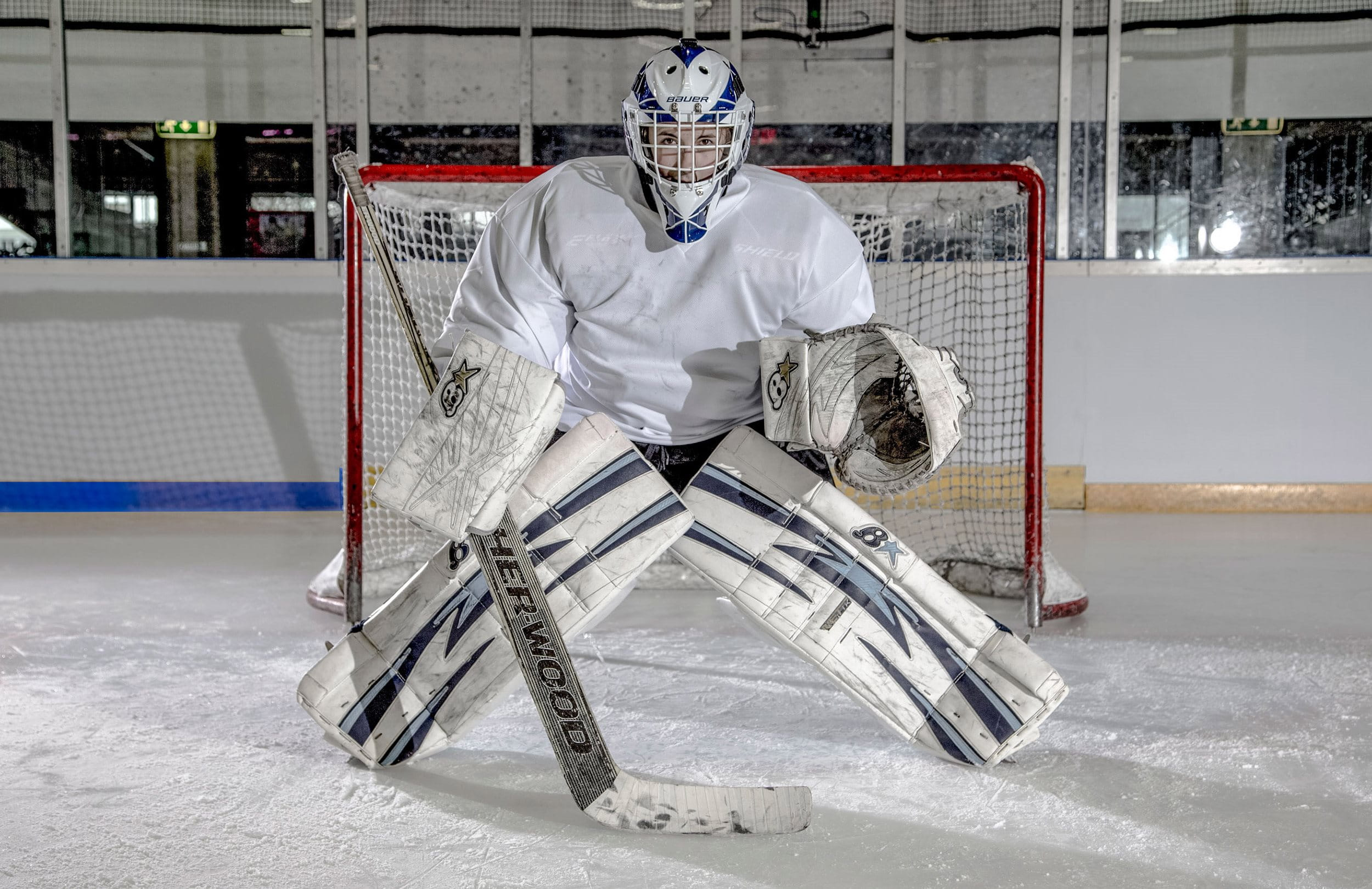 The ice hockey goalie concentrates