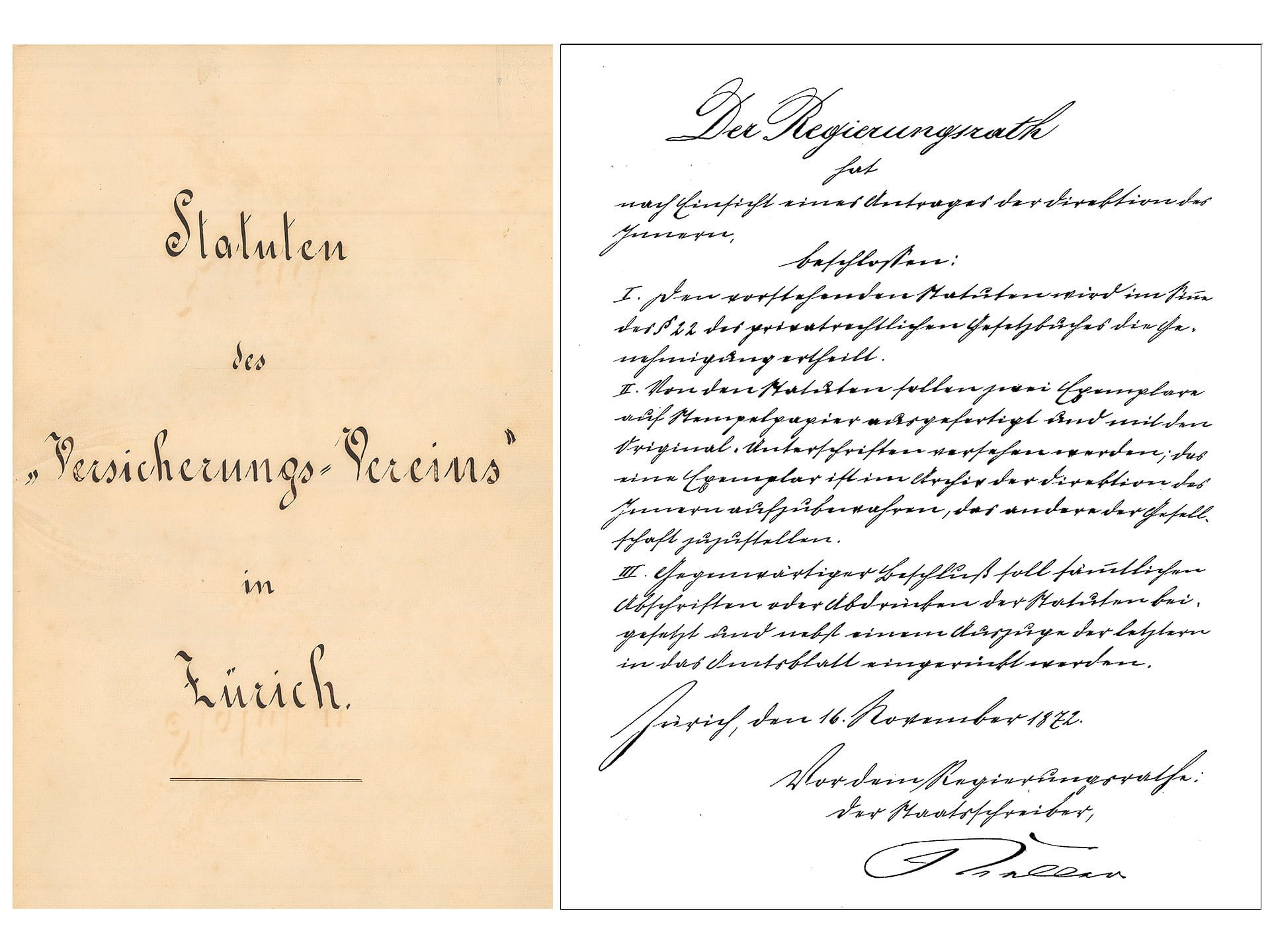 1872: Gottfried Keller signs the articles of association of the «Versicherungs-Verein»