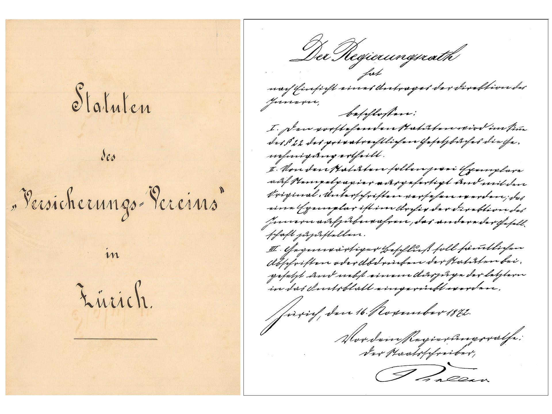 1872: Gottfried Keller signs the articles of association of the «Versicherungs-Verein»