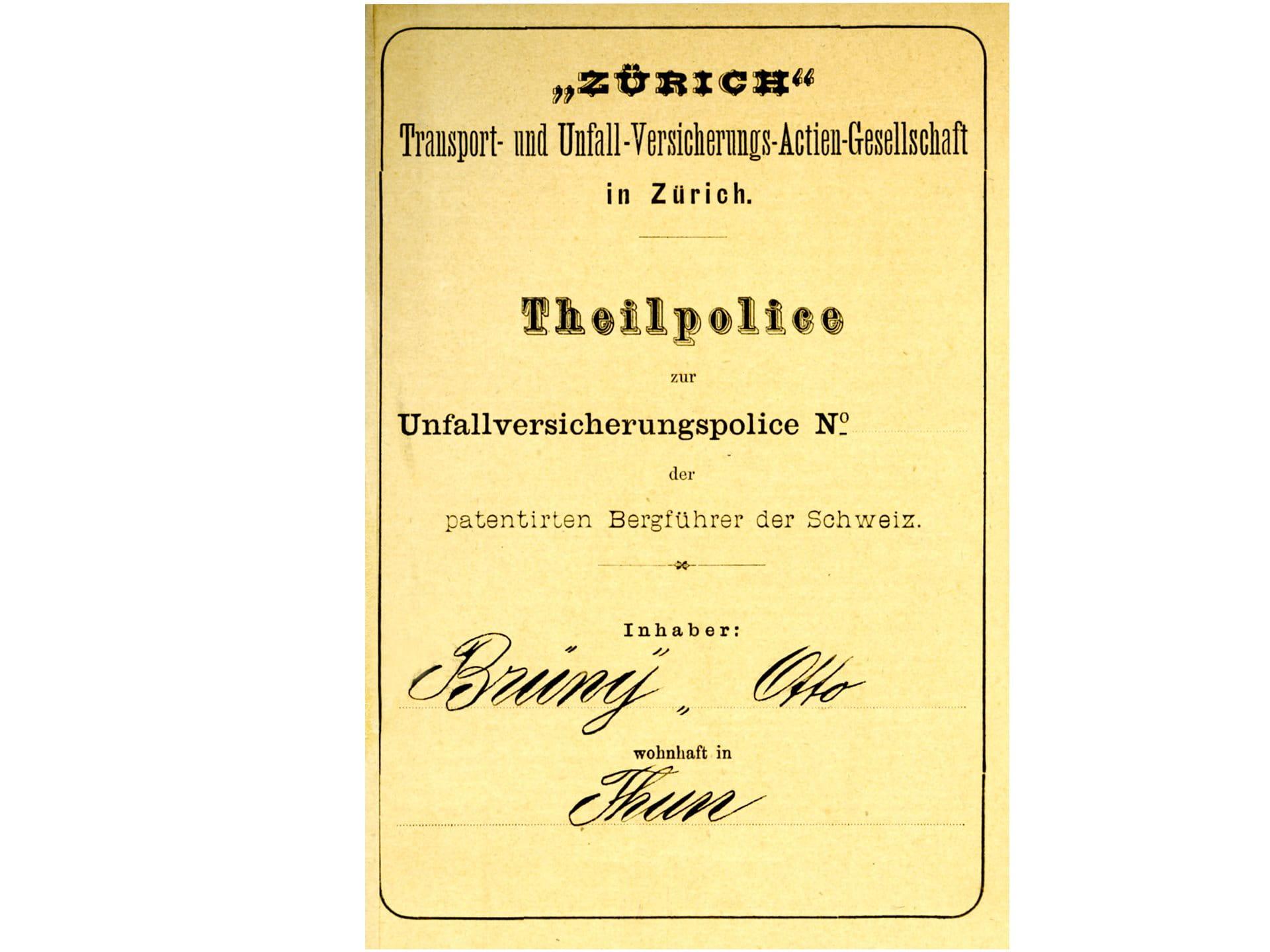 1881: Assicurazione contro gli infortuni per guide alpine