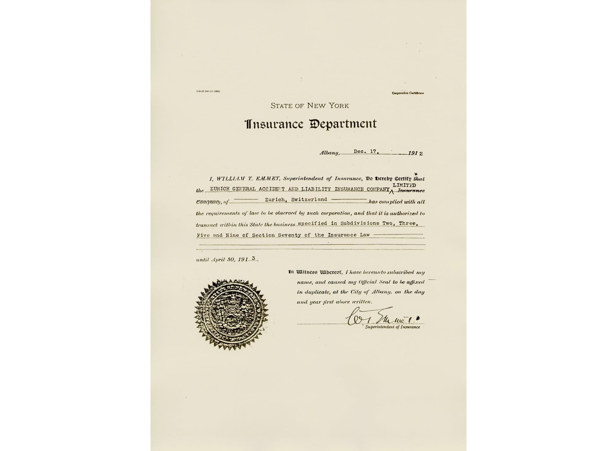 1912: Ingresso nel mercato statunitense