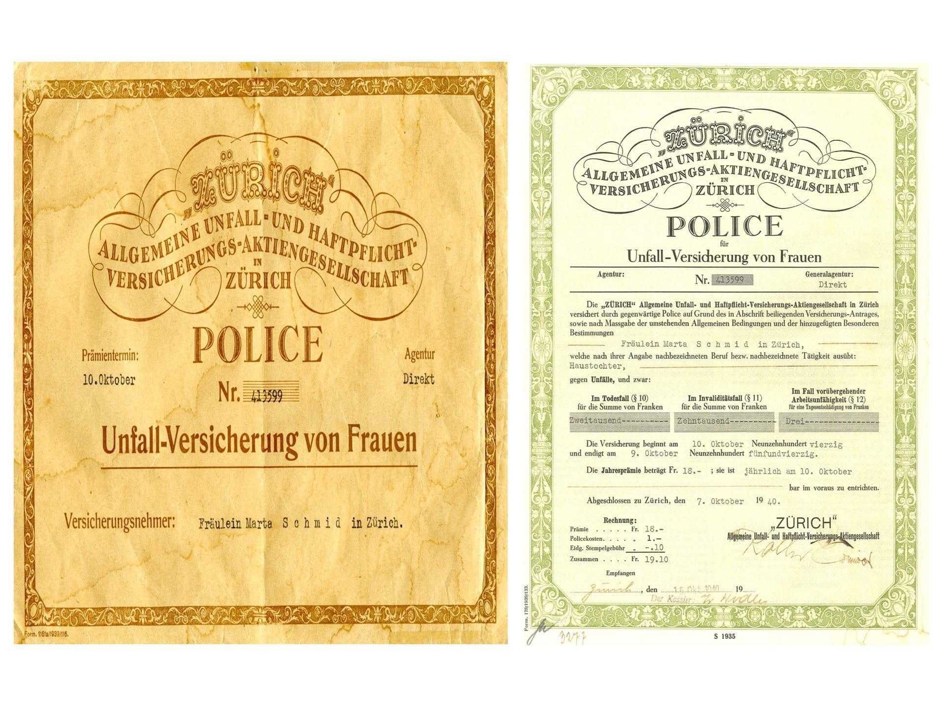 1935: Frauen-Unfall-Versicherung