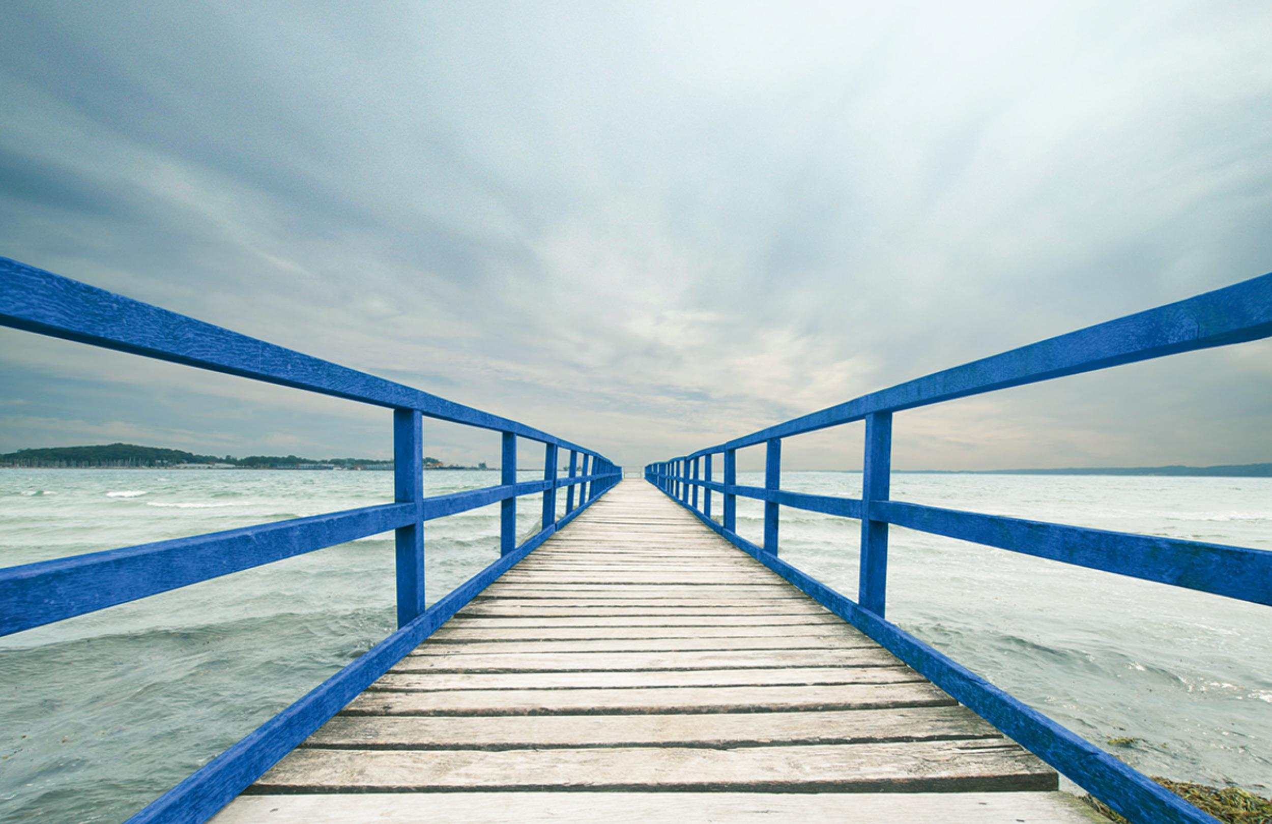Bridge with blue railings