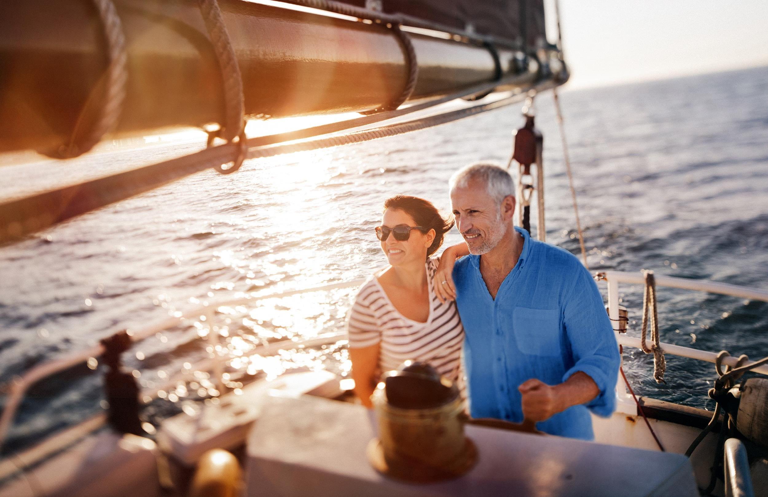 Couple while sailing